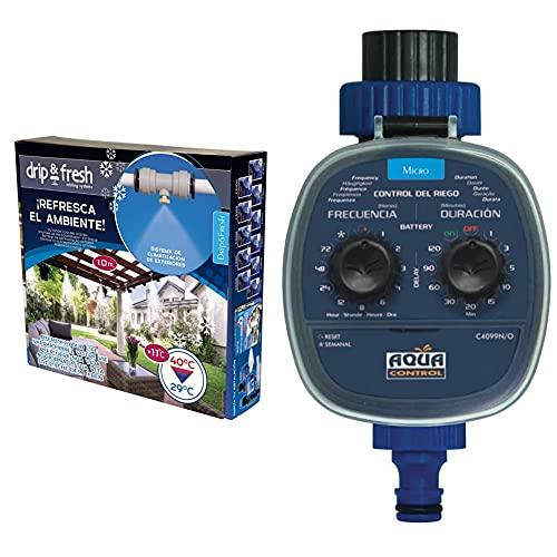 Drip&Fresh Drip & Fresh C5115N Kit De Nebulización para Climatizar Tu Patio O Terraza + Aqua Control C4099O Programador De Riego para Jardín, para Todo Tipo De Grifos