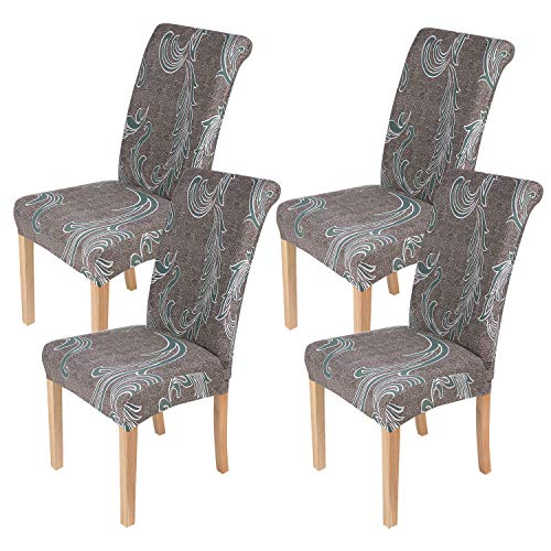 smiry 4 Pack Printed Dining Chair Covers, Stretch Spandex Removable Washable Dining Chair Protector Slipcovers for Home, Kitchen, Party, Restaurant ( Brown)