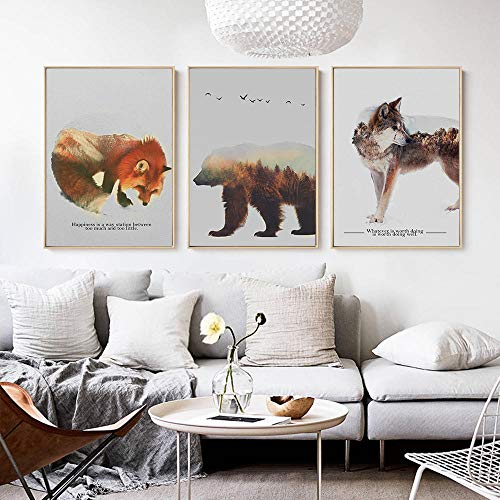 NLZNKZJ Beer Box Wolf Wald sneeuw berglandschap dier muurkunst canvas, druk schilderij poster decoratie afbeelding wooncultuur 50x70cmx3 geen lijst