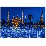 arteWOODS Islámica Azul Turquía Estambul Mezquita del Sultán Ahmed Cartel religioso sobre Lienzo Pintura Mural para Sala de Estar -20x28 IN (Marco de Madera)