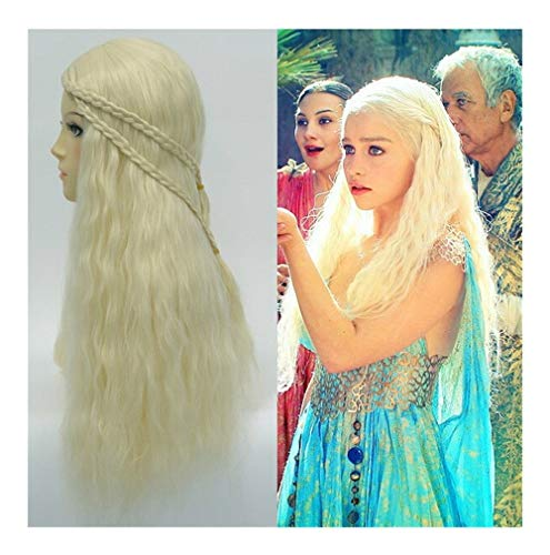 Movie Lied van IJs en Vuur Cosplay Pruiken Lange Witte Golf Rights Daenerys Targaryen Dragon Moeder Wig themafeest Wig