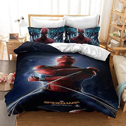 CQLXZ Spiderman Juego de cama infantil Marvel, funda de edredón de microfibra con impresión digital 3D para niños y niñas (C,200 x 200 cm)