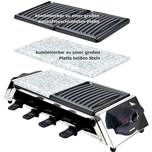 Syntrox Germany roestvrijstalen design Raclette Genf 3 in 1 met grill en hete steen voor 8 personen