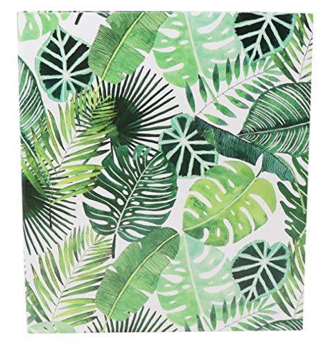 """bloom daily planners 3-Ring Fashion Binder 10 x 115"""" - 1 Inch Ring - Tropical Palm Leaves"""