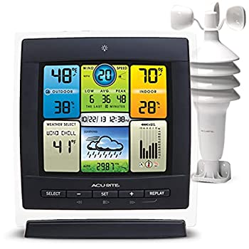 AcuRite Notos  3-in-1  Weather Station for Indoor/Outdoor Temperature Humidity and Wind Speed  00589M