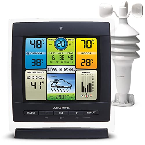 AcuRite Notos (3-in-1) Weather Station for Indoor Outdoor Temperature, Humidity, and Wind Speed (00589M)