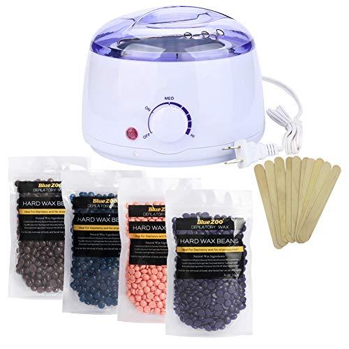 Flowerance Kit d'épilation à la cire chauffante électrique avec 4 différentes saveurs de grains...