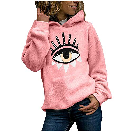 Dicomi Damen Casual Hoodies Outwear Fashion Cat Print Pullover Tops Damen Sweatshirt Bluse Tee Gr. 42, X-pink