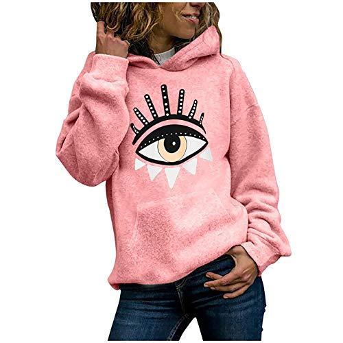 Dicomi Damen Casual Hoodies Outwear Fashion Cat Print Pullover Tops Damen Sweatshirt Bluse Tee Gr. XXX-Large, X-pink