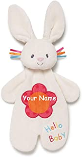 GUND Personalized Flora The Bunny Rabbit Activity Puppet Plush Stuffed Animal Lovey Blanket for Baby with Custom Name - 11...