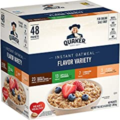 Quaker Oats help support a healthy heart; Diets rich in whole grain foods and other plant foods and low in saturated fat and cholesterol may help reduce the risk of heart disease Contains 48 packets: 23 maple and brown sugar, 13 apples and cinnamon, ...