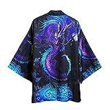 Hombre Kimono Cárdigan Abrigos, Chaqueta De Kimono De Moda De Dibujos Animados/Camisa Informal con Estampado De Dragón/Bata Suelta Interior Diaria para Hombres Y Mujeres,Black-B-Xxlarge