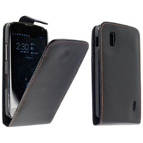 ebestStar - Funda Compatible con LG Nexus 4 E960 Carcasa Abatible PU Cuero, Ultra Slim Case Cover, Negro [Aparato: 133.9 x 68.7 x 9.1mm, 4.7'']