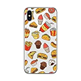 iPhone X Case/iPhone Xs Case,Blingy's Cool Food Style Transparent Clear Soft TPU Protective Case Compatible for iPhone X and iPhone Xs (Happy Fast Food)