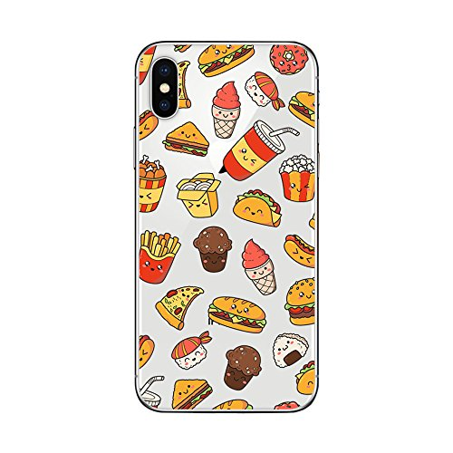 iPhone X Case/iPhone Xs Case,Blingy's Fun Food Style Transparent Clear Soft TPU Protective Case Compatible for iPhone X and iPhone Xs (Happy Fast Food)