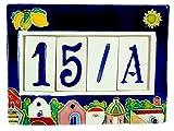 fd-bolletta arredamento e illuminazione numeri civici in ceramica con numeri e lettere da collocare nell'apposita cornice,targa con civici e lettere,mattonella a 4 posti da esterno colorata a mano