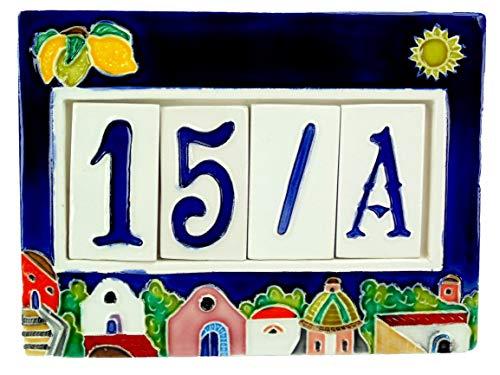 fd-bolletta arredamento e illuminazione Numeri civici in Ceramica con Numeri e Lettere da collocare nell\'apposita Cornice,Targa con civici e Lettere,mattonella a 4 posti da Esterno Colorata a Mano