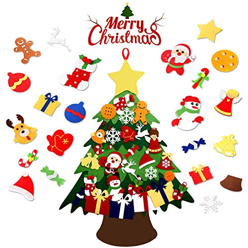 ASSIS 2020-New 3FT 3D-DIY Felt Christmas Tree Set with Handmade 28pcs Ornaments -Double Stitched Wall Hanging