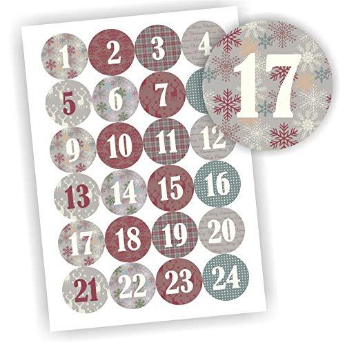 Play-Too 24 Aufkleber Adventskalender Zahlen Fest Weihnachten Aufkleber Sticker DIY Skandinavisch