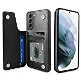 Venoro Galaxy S21 Ultra Case 6.8'' 5G Credit Card Slot Holder PU Leather Card Pockets Shockproof Flip Wallet Protective Cover Case for Samsung Galaxy S21 Ultra 5G (Black, 6.8'')