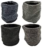 Winter Neck Gaiter, 4 Pack, Fleece Lined Interior Warm Cold Weather Scarf Wrap, Mens or Womens Unisex (4 Pack Assorted Marled)