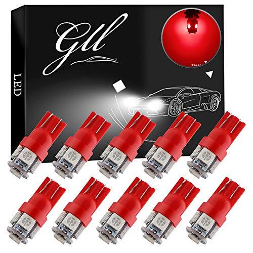 Grandview 10pcs 24V Rojo T10 501 Bombillas LED W5W 194 168 2825 T10 Lampe con 5-5050-SMD para el Interior del Automóvil Mapa de Cúpula Puerta Tablero Tronco Cortesía Placas de Matrícula Luces