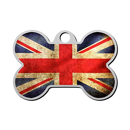 GcTck Personalized Double Sided Print Union Jack Flag Dog Tags Pet ID Tag,Customizable Information Pet Badge for Dogs Cats