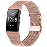 XFYELE Metal Mesh Stainless Steel Watch Band Compatible with Fitbit Charge 4/ Charge 3/ Charge 3 SE Smart Watch, Adjustable Magnetic Clasp Sport Watch Straps for Women Men(Pink Gold)