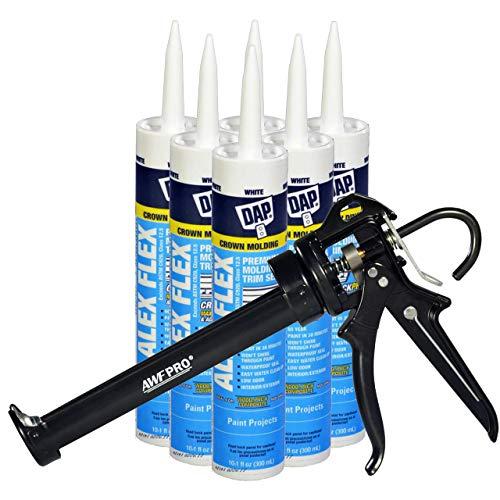 DAP Alex Flex Kit - 10.1 fl oz Alex Flex Caulk. High Adhesion & Flexible Acrylic Latex Caulk, for Molding & Trim. Pack of 6. Applicator Gun Included
