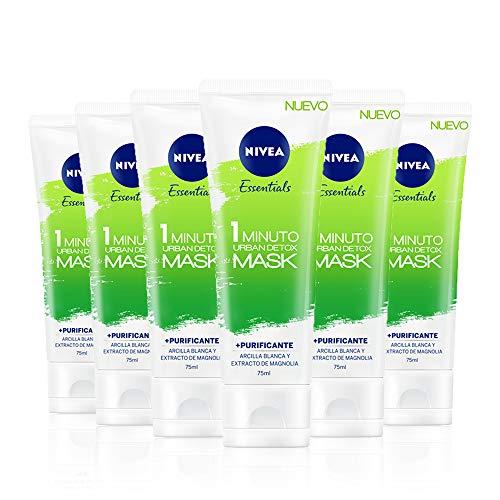 NIVEA Urban Skin Detox Mascarilla Purificante 1 Minuto en pack de 6 (6 x 75 ml), mascarilla facial detox, mascarilla de cuidado facial con efecto peeling exfoliante