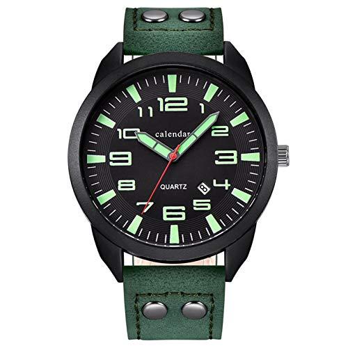 Summerone Relojes Hombres Marca de Lujo Hombres Negocio Correa de Cuero Relojes Reloj de Cuarzo Hombre Casual Militar Militar Impermeable (Color : A)