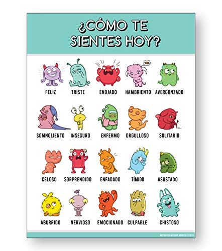 Spanish Feelings Chart for Kids (LAMINATED Spanish Classroom Decorations) 18x24- spanish posters for classrooms (1 Poster Included - Spanish Decor)
