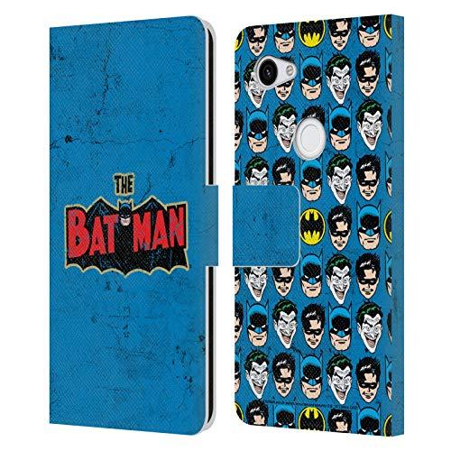 Head Case Designs Licenciado Oficialmente Batman DC Comics Logotipo Envejecido. Moda Vintage Carcasa de Cuero Tipo Libro Compatible con Google Pixel 3a
