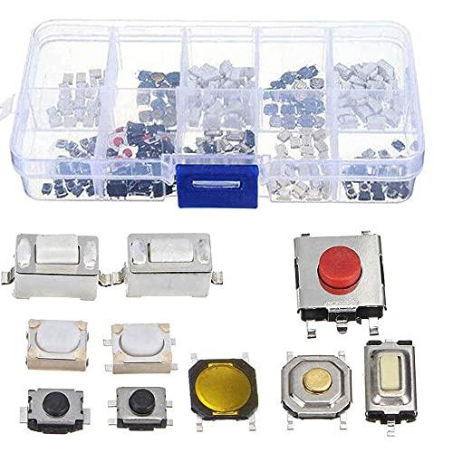 Kaimeilai Botón micro táctil, 250 piezas de botón pulsador táctil Micro interruptor surtido para llave de control remoto de coche con caja, 10 tipos momentáneos pulsador táctil pulsador