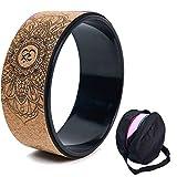 YANBANJIE Rueda de Yoga de Corcho, Equipada con Una Bolsa de Yoga Wheel Especial, Accesorios de Yoga Pilates Naturales y Cómodos para Mejorar la Flexibilidad (D)