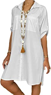 FSSE Womens Short Sleeve Casual Solid Color Plus Size Button Up Beach Party Shirt Dress