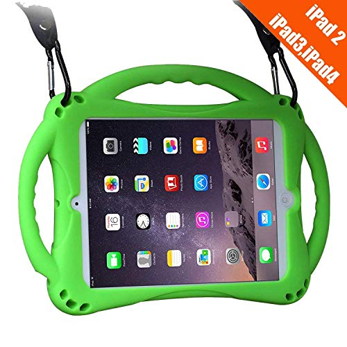 TopEsct iPad 2 Case For Kids, Shockproof Silicone Handle Stand Case Cover For Apple iPad 2,iPad 3,iPad 4(Green)