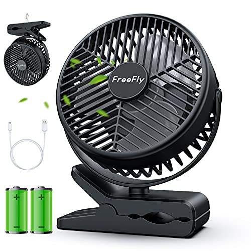 【10000mAh電池内蔵】FreeFly 充電式クリップ扇風機 卓上扇風機 直径約10CM羽根 14cm大型ファン搭載 風量3段階調整 MicroUSB・USB-A端子搭載 スマート急速充電対応 360度角度調整 デスク・リビング・野外など