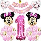 Palloncini Party Minnie, BESTZY Palloncino Compleanno Numero 1 Topolino e Minnie Forniture per Feste Minnie Festa Compleanno Kit 1 Anno Decorazioni per Neonati