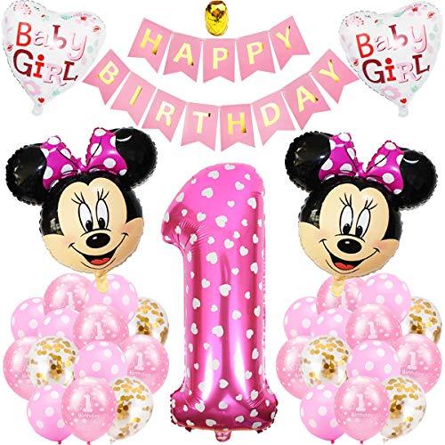 Decoraciones de Cumpleaños de Mickey , BESTZY 1er Cumpleaños Bebe Rosado Globos Decoraciones de Fiesta Temática Rosado de Mickey Globos de Confeti de Latex Niña Ballon Party