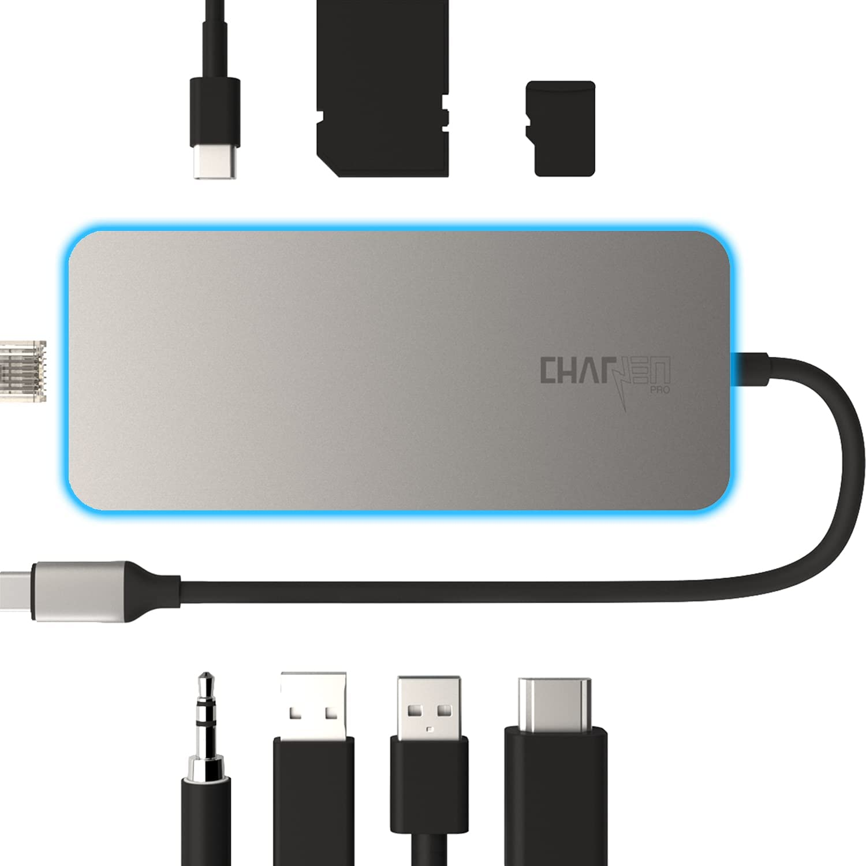 USB C Docking Station Gen 2, 4K@60Hz HDR HDMI, 2 USB 3.2 Gen 2, microSD & SD Card 4.0 UHS-II , 100W, Ethernet, 3.5mm, CharJenPro Ultimate Dock USB C Hub for MacBook Pro, iMac, All USB-c Devices