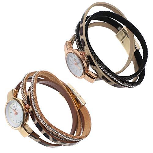 ibasenice Relógio feminino estilo boho, 2 peças, de couro macio, vintage, retrô, leopardo