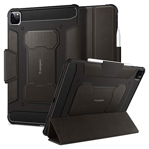 Spigen Rugged Armor Pro Compatible with iPad Pro 11 Inch Case with pencil holder (2020/2018) - Gunmetal