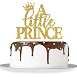 Gold Glitter A Little Prince Cake Topper Baby Shower Baby Boy First Birthday Little Boss Gender Reveal Party Decorations