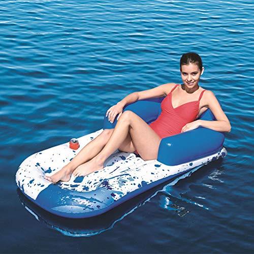 YIZHIYA Fila Flotante Inflable,161×84cm Cama Inflable con Hamaca Flotante,Tumbona al Aire Libre del Flotador de la Piscina del sillón del Respaldo de la Playa,Juguetes acuáticos de Verano