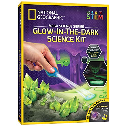 NATIONAL GEOGRAPHIC Mega Science Kit - Glow in The Dark Lab with Crystals, Slime, Putty, and More, Great Kit for Girls and Boys Fascinated by Science