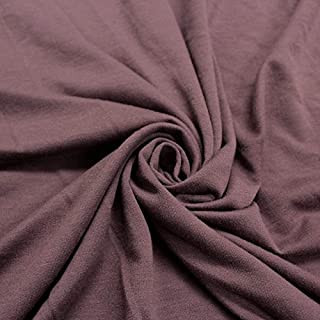 Solid French Terry Fabric Poly Rayon Spandex Fabric by The Yard (MAUVE-2017)
