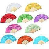 Amaoma Abanicos Boda para Invitados Abanicos Madera Abanico de Papel Abanicos Plegables de Bambú para Decoración de Bodas Regalos de Iglesia Boda Fiesta Bricolaje 10 Piezas 10 Colors