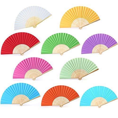 Amaoma Ventagli di Carta Colorati Ventaglio Pieghevole da Borsetta Ventilatore di bambù per Matrimonio Regalo di Nozze della Chiesa Danza Festa Favori Decorazione Fai da Te 10 Pezzi Multicolore