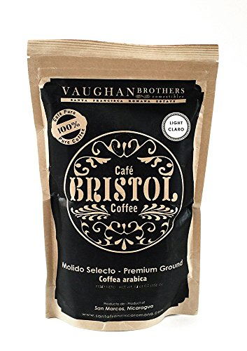 Bristol Coffee Light Roast Ground Coffee - Single Origin Premium Specialty - Highest Quality Nicaraguan Coffee - Pure Arabica - Sustainably Grown - Non-GMO - (12.61 Ounce Ground Coffee)